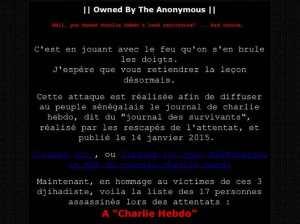 Le message de Anonymous expliquant les motifs des attaque.