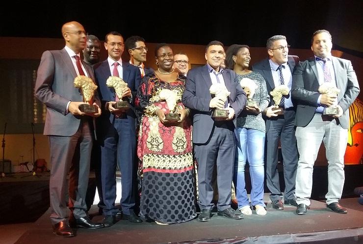 Les lauréats de Hub Africa Awards (5e édition). Premier à partir de g. Mohamed Horani, PDG de HPS.